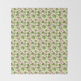 Hand painted pink green watercolor tropical monster leaves floral Throw Blanket
