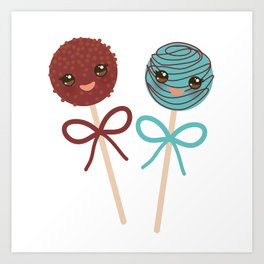 cute funny kawaii chocolate and blue Sweet Cake pops set with bow on white background Art Print