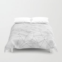 Marble Silver Geometric Texture Duvet Cover
