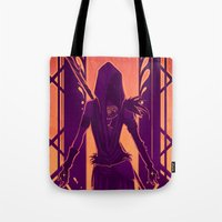 dragon age Tote Bags featuring Dragon Age: Morrigan by Sara Cuervo