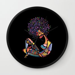 Black Afro Wall Clock