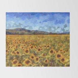 Vincent Van Gogh Sunflowers Throw Blanket