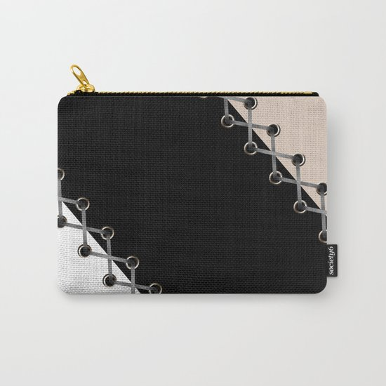 Lacing . Black , white and beige . Carry-All Pouch