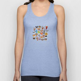 Seamless pattern cute face funny animals on blue background. Vector Unisex Tank Top