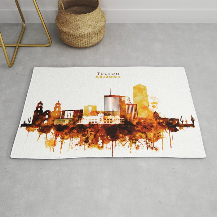 Tucson Arizona Red Yellow Skyline Rug