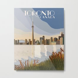 Vintage Inspired Toronto, Ontario, Canada Travel Poster Metal Print