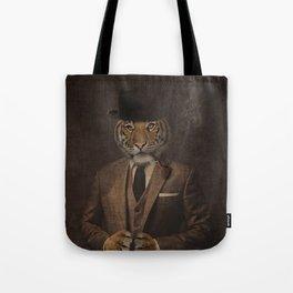 The pipe smoking Gentle Tiger Tote Bag