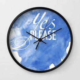 Yes Please! Watercolor Art Wall Clock