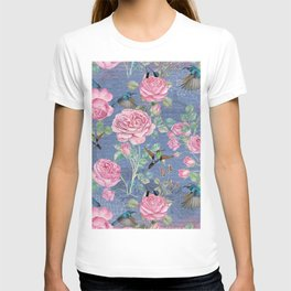 Vintage Watercolor hummingbird and English Roses on blue Background T-shirt
