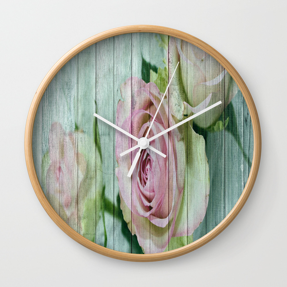 Shabby Chic Pink Roses On Blue Wood Wall Clock by Designsbyjoy CLK7713485