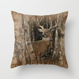 Deer - Birchwood Buck Throw Pillow