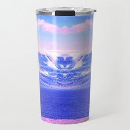 on vaporwave mountain aesthetic abstract nature photography Travel Mug