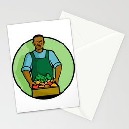 African American Green Grocer Greengrocer Mascot Stationery Cards