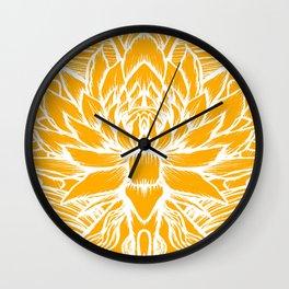 Golden Yellow Lotus Wall Clock