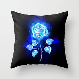 Burning Blue Rose Throw Pillow