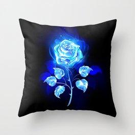 Burning Blue Rose Throw Pillow