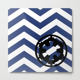 Imperial Cog and Chevrons in White Black and Blue Metal Print