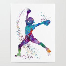 Girl Baseball Softball Pitcher Poster