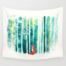 Fox in quiet forest Wall Tapestry