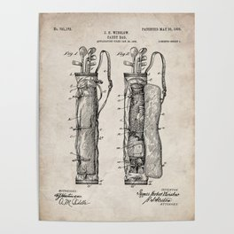 Golf Bag Patent - Caddy Art - Antique Poster