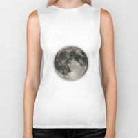 planet Biker Tanks featuring The Moon  [Sans Type] by Heather Landis