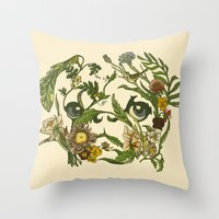 pug Throw Pillows featuring Botanical Pug by Huebucket