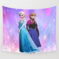 duvet cover Wall Tapestries featuring Frozen anna elsa duvet cover by customgift