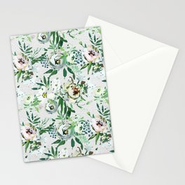 Elegant botanical blush pink pastel green watercolor floral Stationery Cards