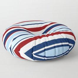 Nautical Stripes - Blue Red White Floor Pillow