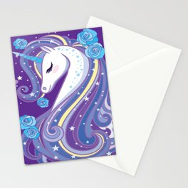 Magical Unicorn in Purple Sky Stationery Cards