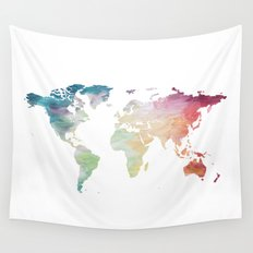 Painted World Map Wall Tapestry