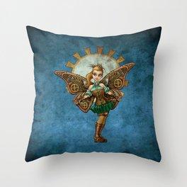 Spunky Steampunk Faery Throw Pillow