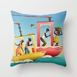 African American Masterpiece 'Course Furieux' by Orville Bulman Throw Pillow