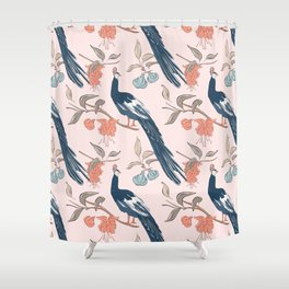 Peacock in flowers Shower Curtain