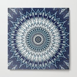 Indigo Navy White Mandala Design Metal Print