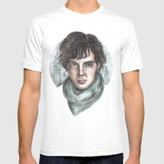 Sherlock Holmes Mens Fitted Tee MEDIUM White