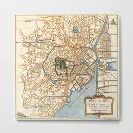 Vintage Map of Tokyo Japan (1752) Metal Print