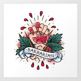 Barbarian - Vintage D&D Tattoo Art Print