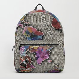 world map splatter vintage Backpack
