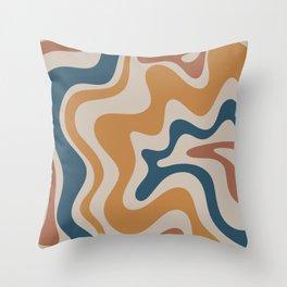 Liquid Swirl Retro Abstract Pattern Blue Ochre Rust Taupe Throw Pillow