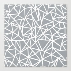 Abstract Outline Thick White on Grey Canvas Print
