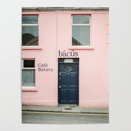 "Travel photography print ""Pastel pink bakery in Dingle Ireland"" - Blue and pink print door Poster"