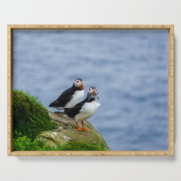 The Puffins of Mykines in the Faroe Islands VII Serving Tray