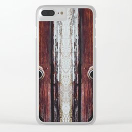 two old brown doors texture background Clear iPhone Case
