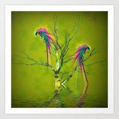 Fantasy Parrots Art Print