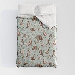 Cute Sea Otters Duvet Cover