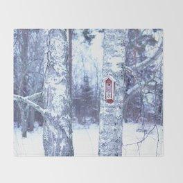 Red Bird House in Winter White Scene #decor #society6 #buyart Throw Blanket