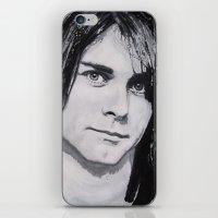 kurt cobain iPhone & iPod Skins featuring Cobain Kurt Portrait. by Dioptri Art