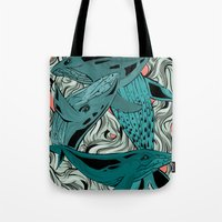 whales Tote Bags featuring Whales by melcsee
