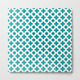 Stars & Crosses Pattern: Teal Metal Print